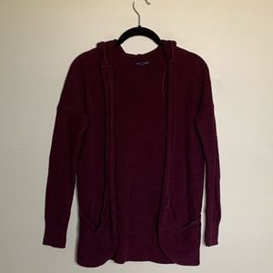 American Eagle burgundy hooded open cardigan S